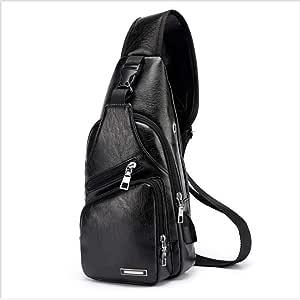 Botreelife アウトドアバッグ クロスボディバッグ ワンショルダー メンズ 斜め掛け 軽量 旅行 運動 調節可能 収納 レザー 防水 便利 (ブラック)