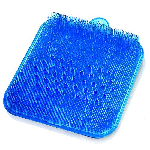 (ムジナ) mujina 足洗いマット お風呂で角質ケア 吸盤 壁掛けフック用穴付き (ブルー)