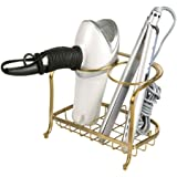 mDesign Hair Dryer & Accessory Storage Holder for Bathroom Vanity Countertop - Soft Brass