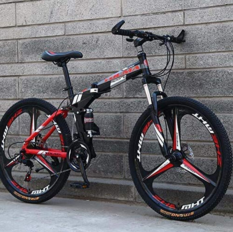 特異性多様な動的HYCy26インチホイール折りたたみマウンテンバイク、男性と女性の自転車のためのデュアルサスペンション、高炭素鋼フレーム、スチールディスクブレーキ