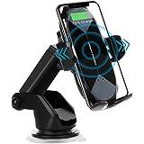 車載Qi ワイヤレス充電車載ホルダー 10W/7.5W 急速ワイヤレス充電器 車載スマホホルダー360度回転 粘着式&吹き出し口2種類取り付 iPhone 12/pro/mini/iPhone 11/pro/pro max/X/XR/XS/XSMAX