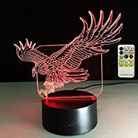 ATD 3d Optical Illusion Eagle 7Color Changing 15キーリモートLEDタッチアクリルデスクランプ夜ライト