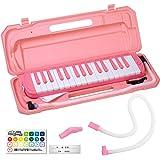 KC キョーリツ 鍵盤ハーモニカ メロディピアノ 32鍵 サクラ P3001-32K/SAKURA (ドレミ表記シール・クロス・お名前シール付き) ピンクカラー交換用吹き口&ホースセット