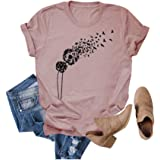 HDLTE Casual Dandelion Make a Wish Women's T-Shirt Cute Graphic Short Sleeve Summer Tee Shirts with Funny Sayings