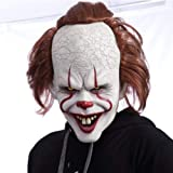 Sanwer ピエロリターンマスク ハロウィンマスク ウィッグヘッドギアマスク ハロウィン ウィッグ ペニーワイズ ラテ…