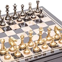 Bello Stefano Solid Brass Staunton Chessmen from Italy & Seventh Avenue Carbon Fiber Chess Board/Box with two Drawers. by