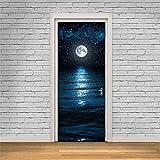 Yanqiao ドア用のステッカー 水の表面は月の影を映ってる のドアのステッカー おしゃれでかわいいのシール式 壁飾り