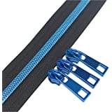 YaHoGa #5 Blue Teeth Metallic Nylon Coil Zippers by The Yard Bulk 10 Yards with 25pcs Blue Sliders for DIY Sewing Tailor Craf