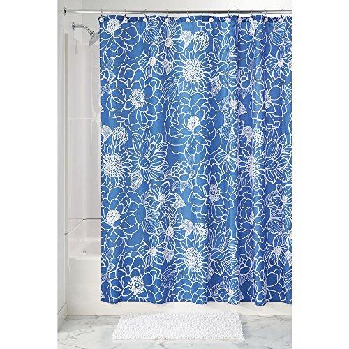 プリント シャワーカーテン 布製 Mila Floral183cm x 183cm ブルー ホワイト 64220EJ