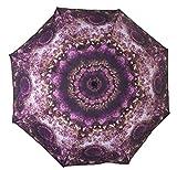 (メイドインコスモス) MADE IN COSMOS 幾何学 デザイン フラワー 花柄 星空 宇宙 折りたたみ 折り畳み 傘 かさ 晴雨兼用 軽量 オシャレニスタ オシャレ UPF40+ UV カット (パープル)