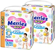 [Pants type] Merries Pants L size (19.8–30.9lbs (9–14kg)) Sarasara Air Through, 112 sheets (56 sheets x 2)