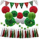 (Green, Red & White) - 33pcs Christmas Party Decorations Supplies Set - Paper Lanterns Tassels Hanging Garland Banner Tissue Pom Poms Flowers Triangle Flag Bunting for Bridal Baby Showers Birthday Events (White, Red, Green)