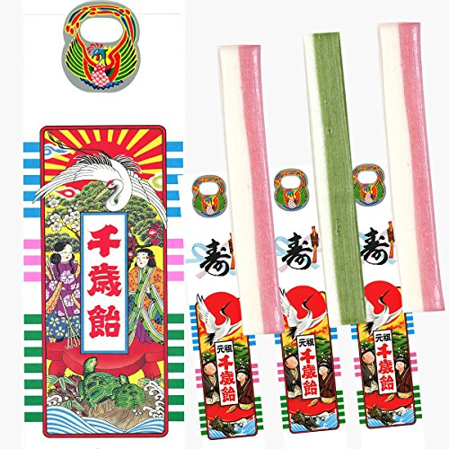 京の千歳飴 3本入 (千歳あめ いちごみるく味2本、抹茶みるく味1本) 手提げ袋入り