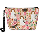 Mumeson Small Toiletry Cosmetic Handy Bag for Women Ladies Pink Floral Beagles Zipper Closure Travel Pouch Storage Clutch Pur