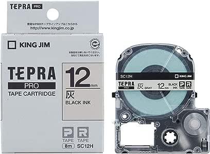 キングジム テープカートリッジ テプラPRO 12mm SC12H 灰ラベル