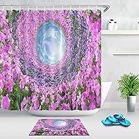 Amxxy 楽園のパターンのバスルームシャワーカーテンバスマットへの素晴らしい花のアクセスは、バスルームシャワー用の12のプラスチックフックを含むフランネル素材滑り止めバスルームマット付きの防水布を設定しました