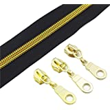 (gold black) - YaHoGa 5 Gold Metallic Nylon Coil Zippers By The Yard Bulk 10 Yards With 25pcs Gold Sliders for DIY Sewing Tai