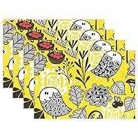 ユキオ(UKIO) ランチョンマット 子供用 おしゃれ シリコン 北欧 撥水 紙 防油 防水 布 キノコ ベリー 鳥 秋 断熱 食卓 華やかな雰囲気 家庭 レストラン用 防汚 セット