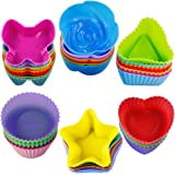 42 pcs Silicone Cupcake Baking Cups, SENHAI Non-Stick Heat Resistant Cake Molds Ice Cube Molds for Making Muffin Chocolate Br