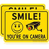 Sheenwang 2-Pack Smile You're on Camera Sign, Video Surveillance Signs Outdoor, UV Printed .040 Mil Rust Free Aluminum 10 x 7