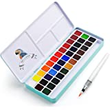 MeiLiang Watercolor Paint Set, 36 Vivid Colors in Pocket Box with Metal Ring and Bonus Watercolor Brush, Perfect for Students
