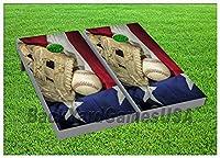 野球Cornhole Beanbag Toss GameゲームボードPatriotic米国フラグWバッグセット775