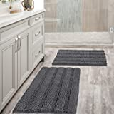 Grey Bath Mat Ultra Thick and Soft Texture Chenille Plush Striped Floor Mats Hand Tufted Bath Rug with Non-Slip Backing Micro