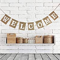 LUOEM Welcome Sign Banner Party Accessory Party Welcome Decors Burlap Bunting Banners for Christmas Festival Babby Shower [並行輸入品]