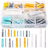 Rustark 220-Pcs Assorted Sizes Plastic Drywall Ribbed Anchors Hollow Drywall Anchors with Self Drilling Screws Assortment Kit
