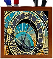 Rikki Knight Astronomy Clock Close-Up Design 5-Inch Wooden Tile Pen Holder (RK-PH8858) [並行輸入品]