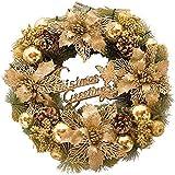 クリスマスリース クリスマス花輪 デコレーション かわいい オーナメント 飾り付き 玄関リース 部屋 飾り 壁掛け おしゃれ 正月飾り 新年飾り 年末 冬 贈り物 金 【直径30cm】