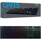 Logitech 920-009228 G915 Lightspeed Wireless RGB Mechanical Gaming Keyboard with GL-Clicky Switch, Black