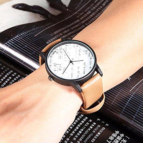 ZooooM ユニーク 数学 数式 モチーフ デザイン ウォッチ 腕 時計 クォーツ フェイク レザー バンド ファッション カジュアル 男性 メンズ ( ブラック ブラウン ) ZM-WATCH1635-BKBR