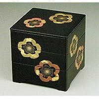【木繊維製重箱】黒内朱 6寸 三段重 共足 金彩梅【日本製】