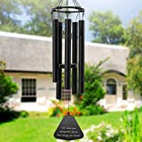 ASTARIN Wind Chimes Outdoor Deep Tone, 30'' Amazing Grace Wind Chime with 5 Metal Tuned Tubes, Black Elegant Memorial Wind Ch