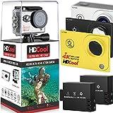 HDCool HC7000 4K Wifiアクションカメラ 170度超広角レンズ 1080P HD 16MP防水スポーツカメラ、2.0インチLCDディスプレイ、二つの充電式電池を含みます