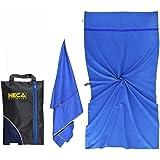 "Beach Gym Travel Towel - 160x80cm / 63x31"" - Sand Free - Quick Dry - Ultralight - Snap Loop - 2 Large Hidden Zip Pockets - Co"