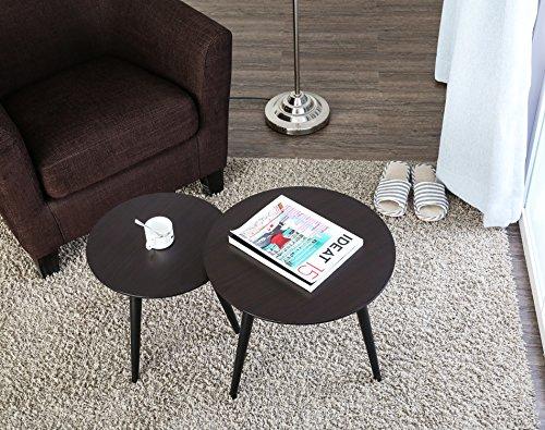 HOMURY(ホミュリ) ネストテーブル コーヒーエンドテーブル ベッドサイドテーブル ソファテーブル ダイニングテーブル  座卓 丸 三本組(ブラウン)BRT06001WD