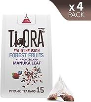 Ti Ora Fruit Infusion - Forest Fruits & New Zealand Manuka Leaf - 4 Packs of 15 Pyramid Tea Bags (60 Serves), 4 x 27 g