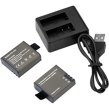 AKASO バッテリー2個 +急速デュアル充電器+ miscoUSB AKASO EK7000 EK5000 SJCAM SJ4000、SJ5000 、SJ6000 、DBPOWER 、MUSON、Patech 、WIMIUSなどアクションカメラに対応します