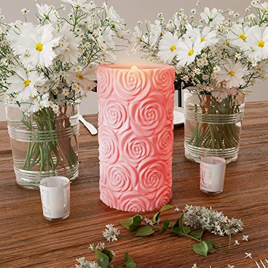 うんざり誰でも山Lavish Home LEDキャンドル リモコン付き ローズデザイン 香り付きワックス 本物のような揺らめき/安定した炎のないピラーライト アンビエントホームデコレーション