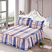 ZHIYUAN チェック柄ベッドスカート2枕カバーセット,キング