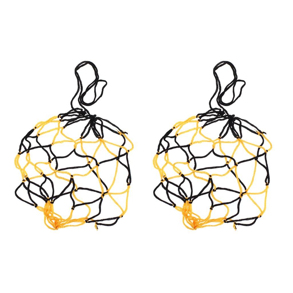 簡易ボールバッグケース 網袋 巾着 サッカー バレーボール バスケットボール用 便利 ブラックとイエロー 2個セット