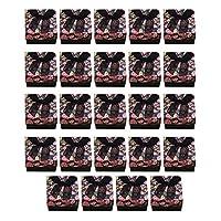 Prettyia 24ピース ローズ柄 フタ付き ダンボールボックス ギフト箱 ネックレス イヤリング ブレスレット アクセサリー収納 全4色 - ブラック