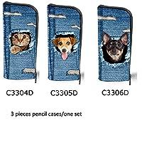 For U Designsかわいい猫犬プリント学生鉛筆バッグポーチコイン財布人気ペンケース