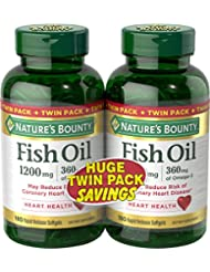 Nature's Bounty Fish Oil 1200 mg Twin Packs, 180 Rapid Release Liguid Softgels 海外直送品