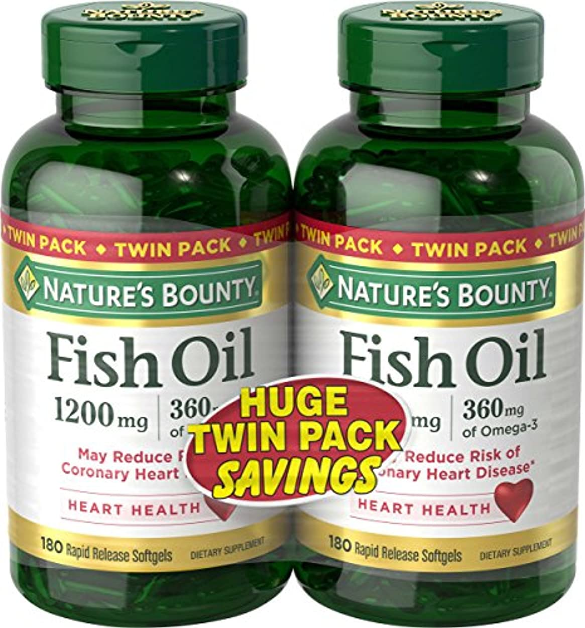 解放部門トラップNature's Bounty Fish Oil 1200 mg Twin Packs, 180 Rapid Release Liguid Softgels 海外直送品