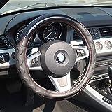 AUTOMAN(オートマン) ハンドルカバー 合成皮革とカーボンのコンビネーションに3Dタイプのハイグリップを合わせた豪華な雰囲気 ステアリングカバー ワゴンR ムーブ N-BOX フィット等 軽自動車 普通車にぴったり ゴム特有の臭いがしない! 適合サイズ 直径36.5~38.0cm 黒色カーボン/黒色合成レザー×黒色3Dグリップ AH-009 (ブラック×ブラック)