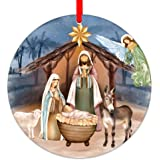 WaaHome Nativity Scene Christmas Ornaments 3'' Religious Christmas Ornaments Christian Ornaments for Christmas Tree Decoratio