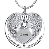Angel Wing Urn Necklace for Ashes, Heart Cremation Memorial Keepsake Pendant Necklace Jewelry with Fill Kit and Gift Box